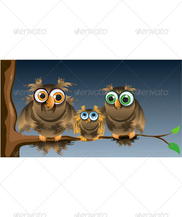 GraphicRiver family owls 3927840