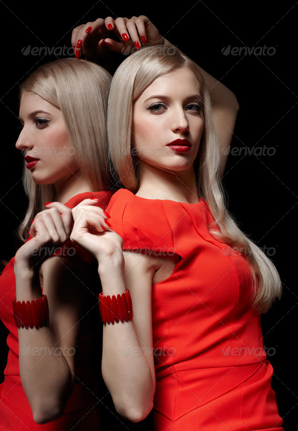 beautiful blonde woman - Stock Photo - Images