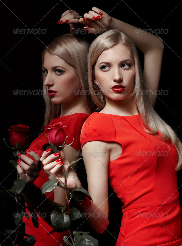 beautiful woman with rose - Stock Photo - Images