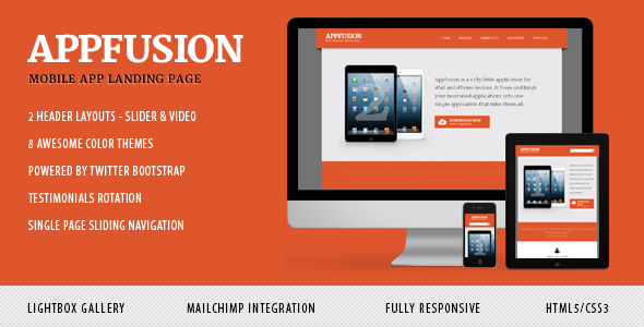 AppFusion - Nifty Little Responsive Landing Page - AppFusion - mobile app landing page