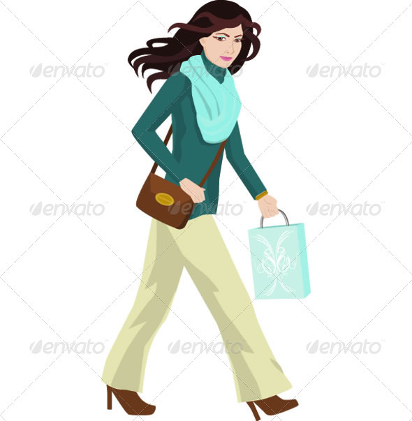 GraphicRiver Woman Shopping Illustration 3819902