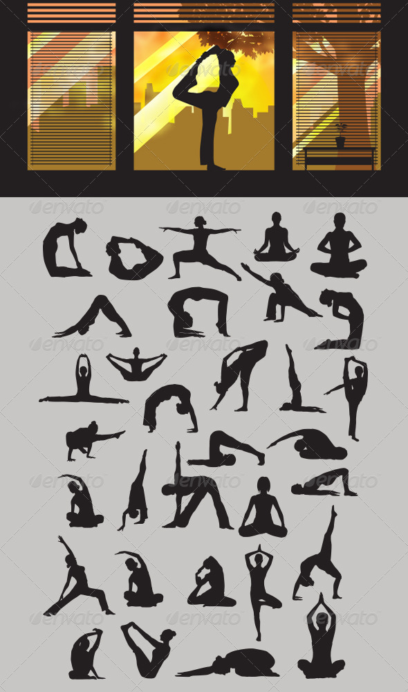 GraphicRiver Yoga Silhouettes 3928843
