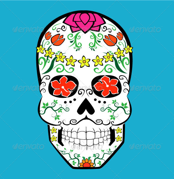 GraphicRiver Flower Skull 3928856