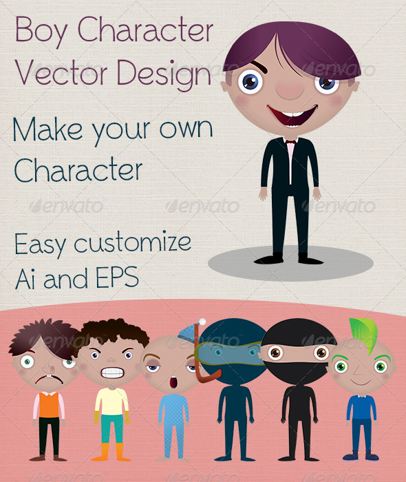 GraphicRiver Boy Character Vector Design 3824927