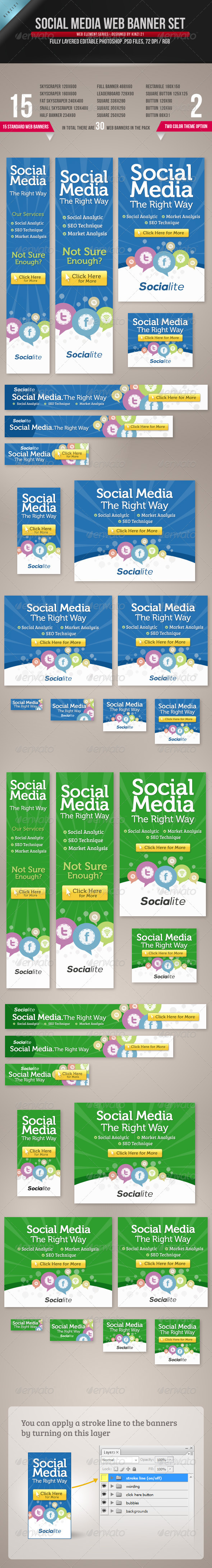 Social Media Web Banner Set - Banners & Ads Web Elements
