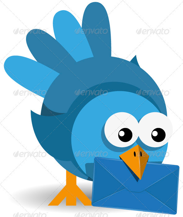 GraphicRiver Blue Bird with a Blue Envelope 3929484