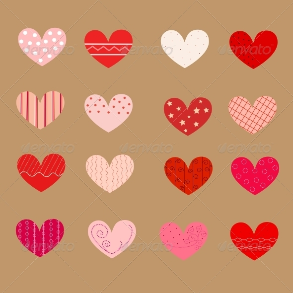 GraphicRiver Decorated Hearts Patterns Seamless 3929538