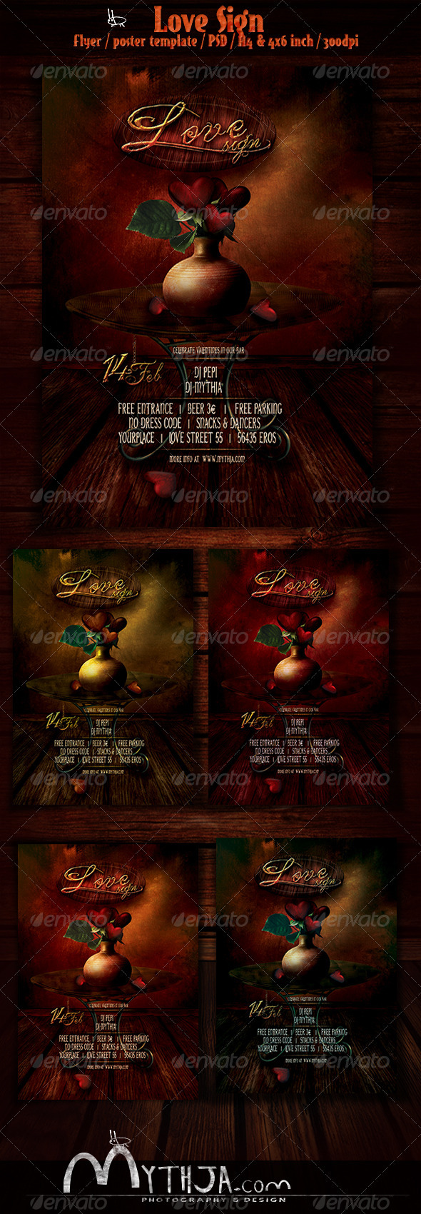 GraphicRiver Love Sign Valentines Flyer Poster Template 3848243