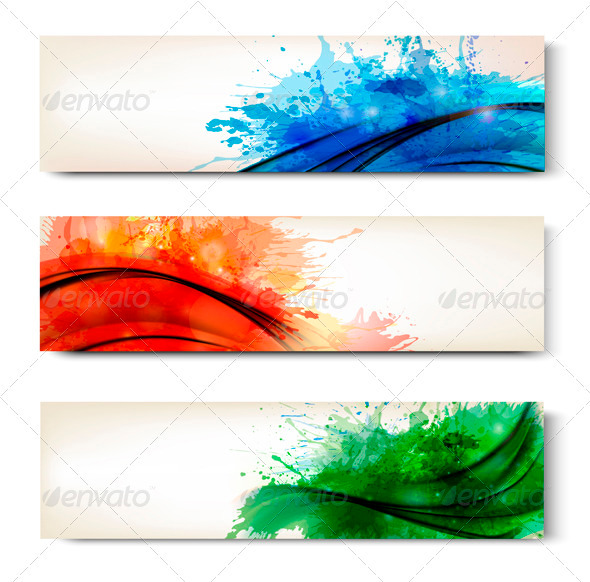 GraphicRiver Collection of Colorful Abstract Watercolor Banners 3827076