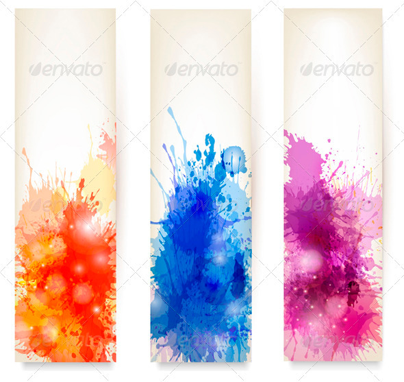 Collection of Colorful Abstract Watercolor Banners