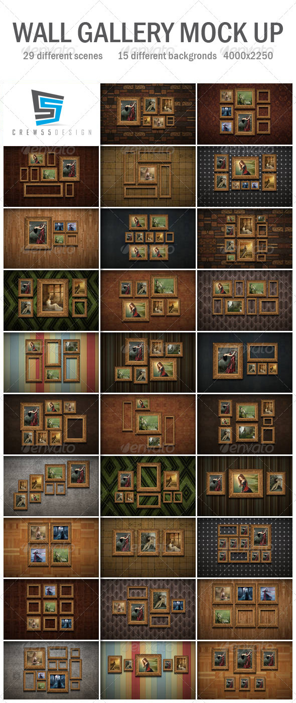 GraphicRiver Wall Gallery Mock Up 3929953