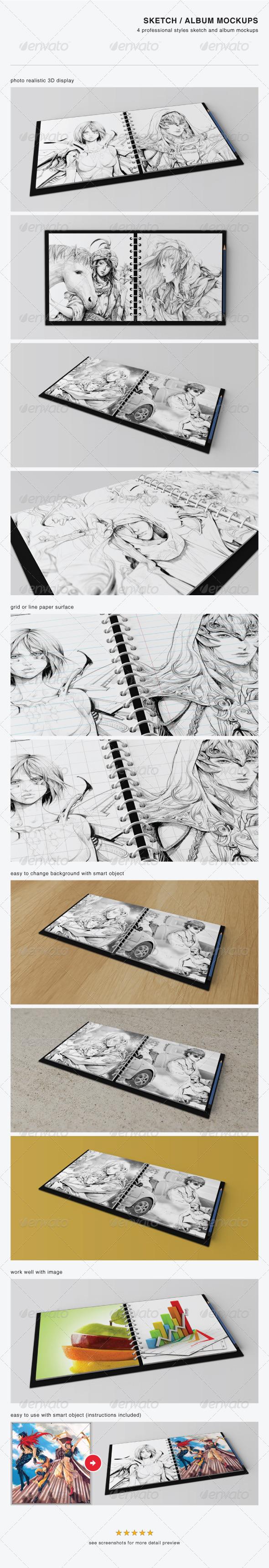 GraphicRiver Sketch Album Mockups 3930016