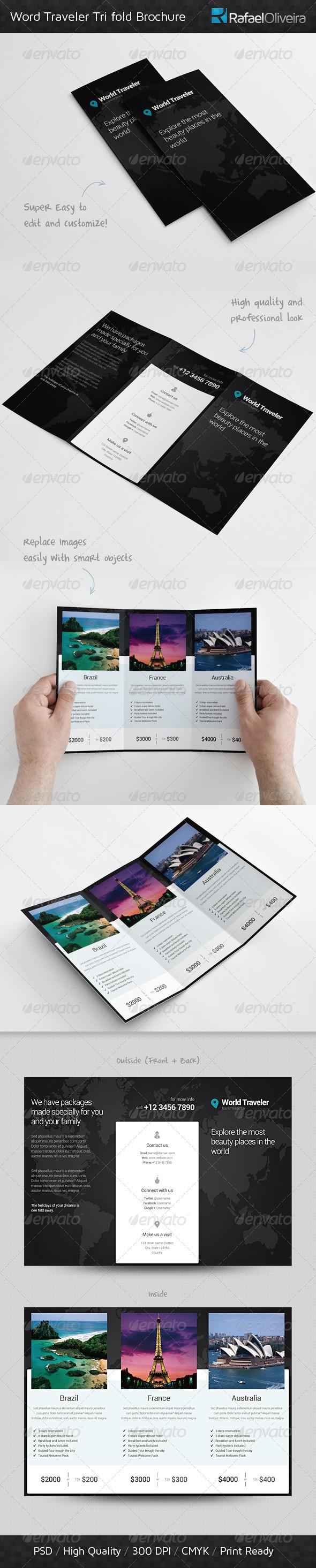 GraphicRiver World Traveler Tri Fold Brochure 3930288