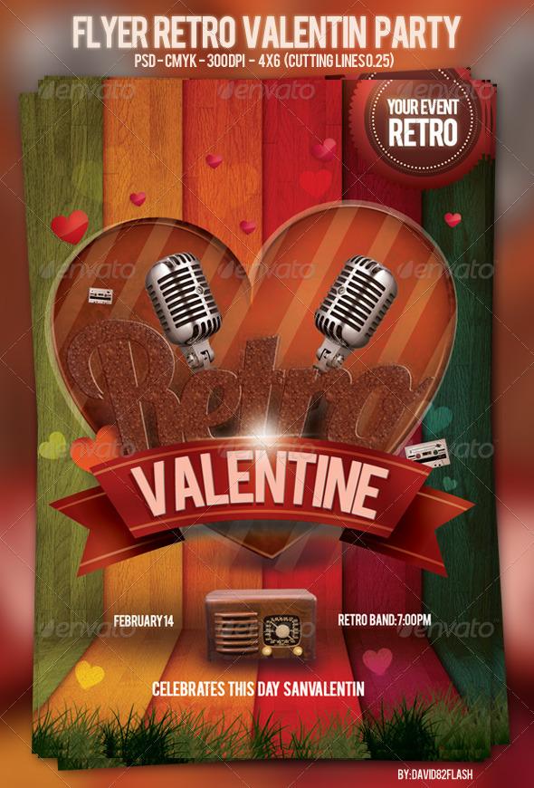 GraphicRiver Flyer Retro Valentin Party 3719600