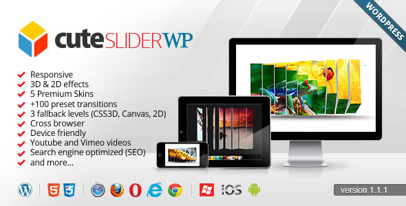 Cute Slider WP - 3D & 2D HTML5 WordPress Slider - CodeCanyon Item for Sale
