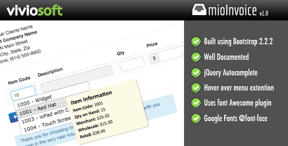 CodeCanyon mioInvoice jQuery Autocomplete Invoice Module 3931326