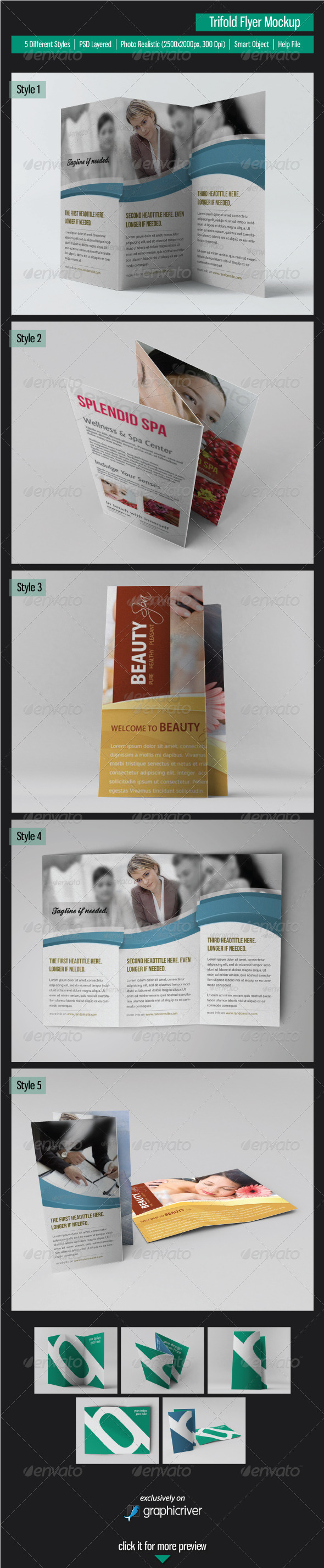 GraphicRiver Trifold Flyer Mockup 3856678