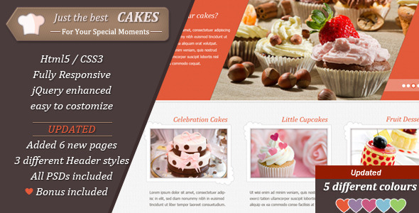 JustCakes - responsive html5 for bakery items - Food Retail