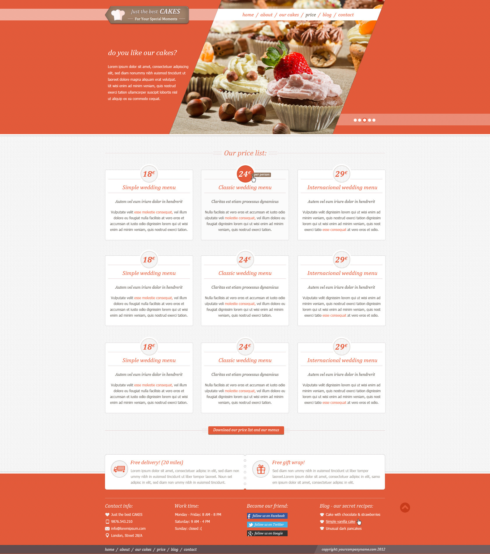 JustCakes - responsive html5 for bakery items