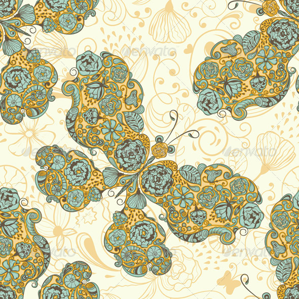 GraphicRiver Vector Seamless Spring Pattern with Butterflies 3932559