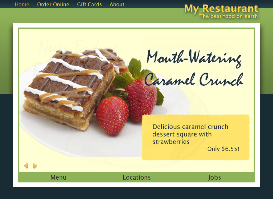 Don's Cafe - The homepage has a large slideshow showing ads for your restaurant.