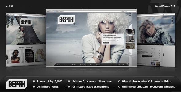 ThemeForest Depth Full-Screen AJAX Portfolio WordPress Theme 3933321
