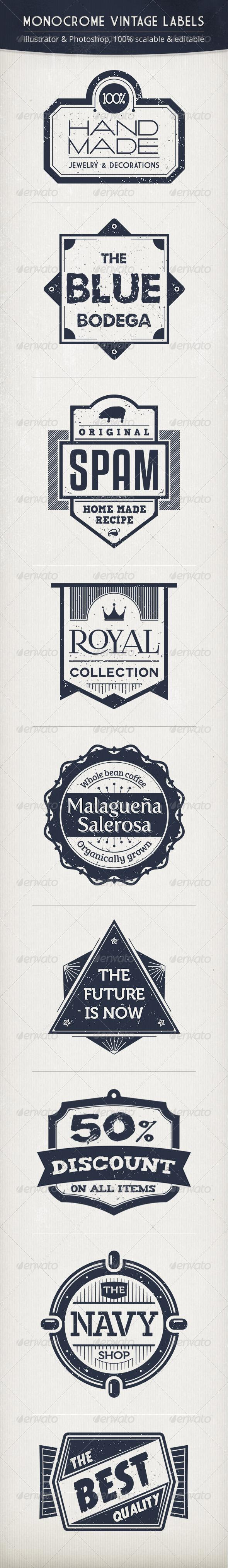 GraphicRiver Monochrome Vintage Labels 3933822