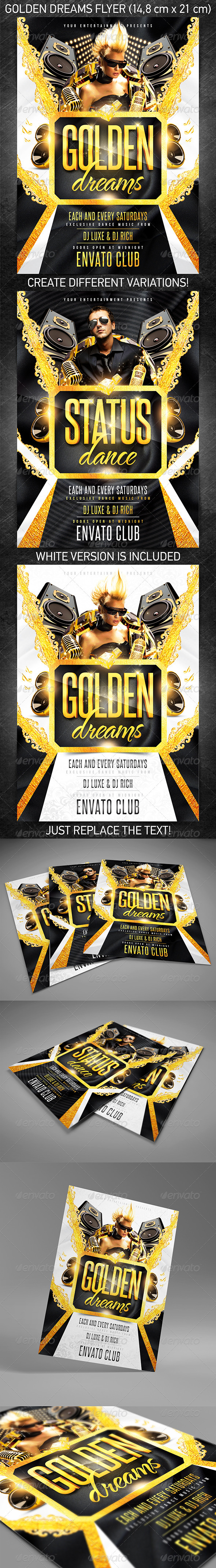 Golden dreams party flyer - Events Flyers