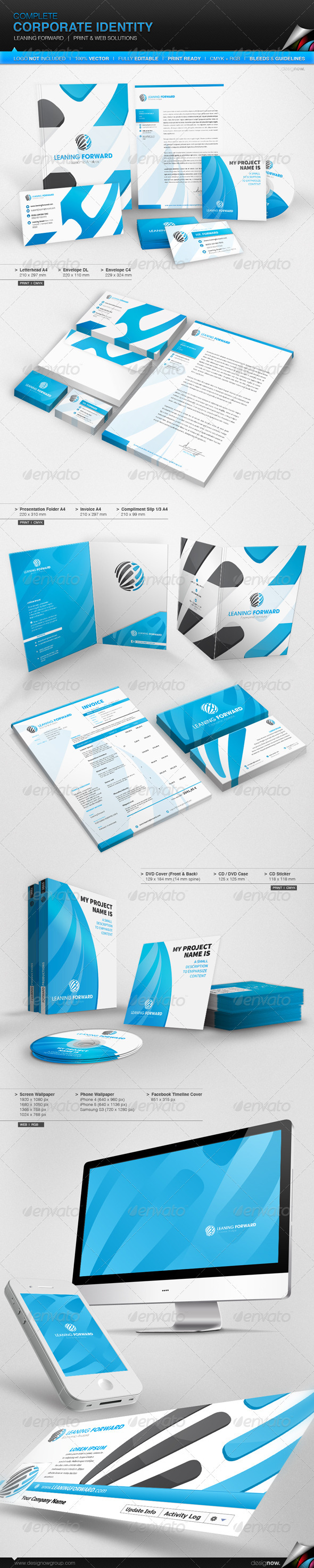 Corporate Identity - Leaning Forward - Stationery Print Templates