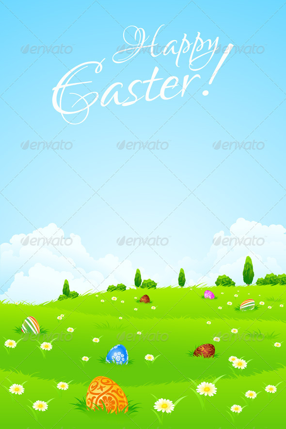 GraphicRiver Green Landscape Background with Easter Eggs 3935485