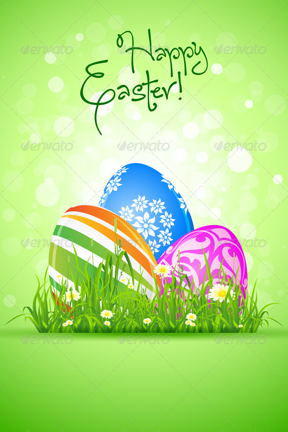 GraphicRiver Easter Eggs in the Grass 3935922