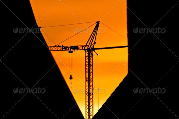 PhotoDune building crane during sunrise 3936744