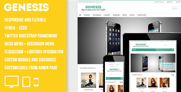 ThemeForest Genesis Elegant and Responsive Zen Cart Template 3929391