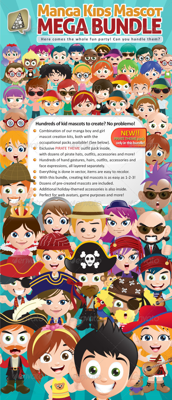 GraphicRiver Manga Kids Mascot Mega Bundle 3937832