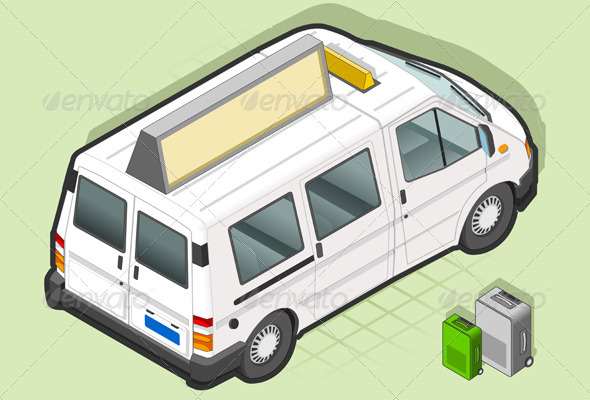 GraphicRiver Isometric White Taxi Van with Some Bags 3938081