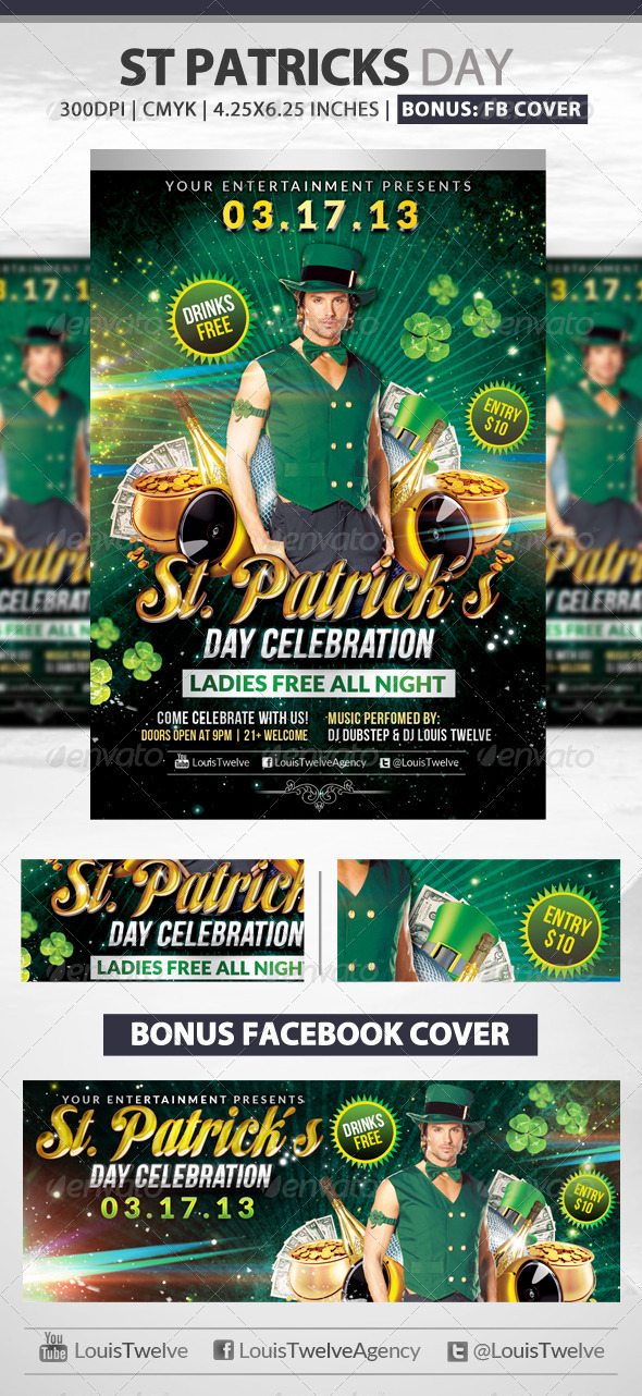 St Patrick s Day Flyer & Fb Cover
