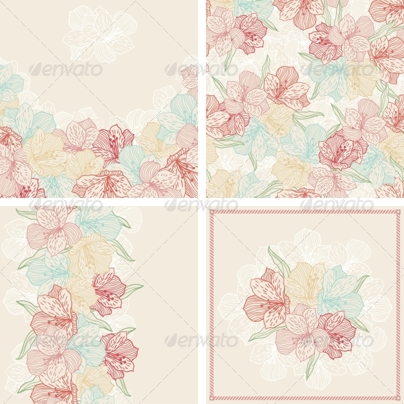GraphicRiver Set of Vintage Flower Patterns and Backgrounds 3938571