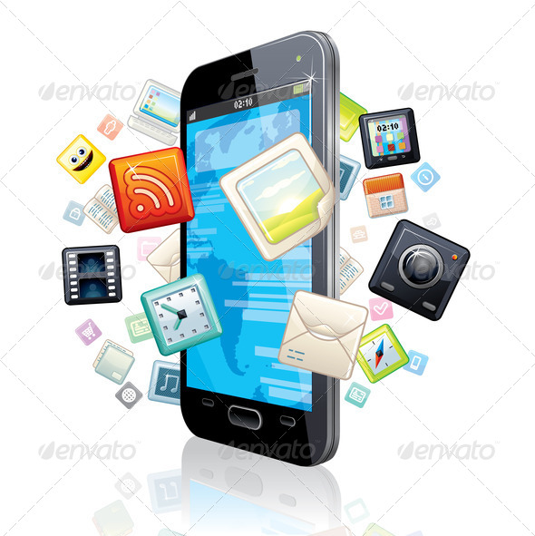 Multimedia Smart Phone. Illustration - Stock Photo - Images