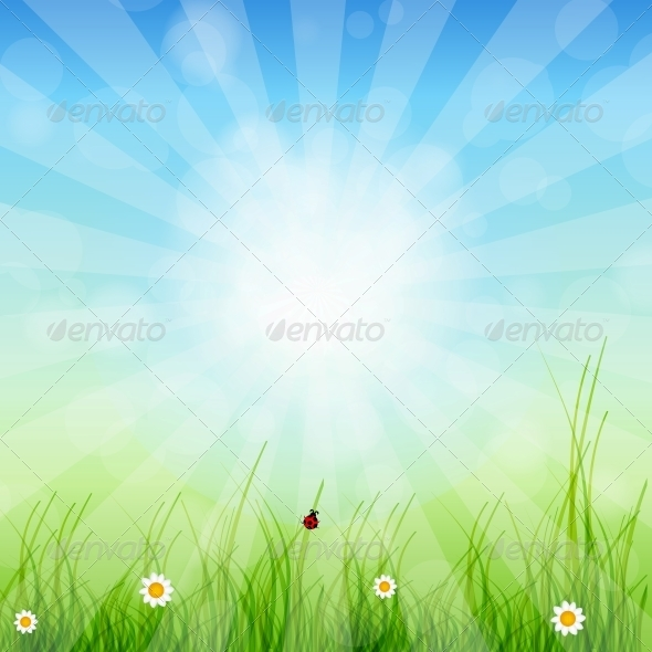 GraphicRiver Spring Green Background Grass and Sun 3938651