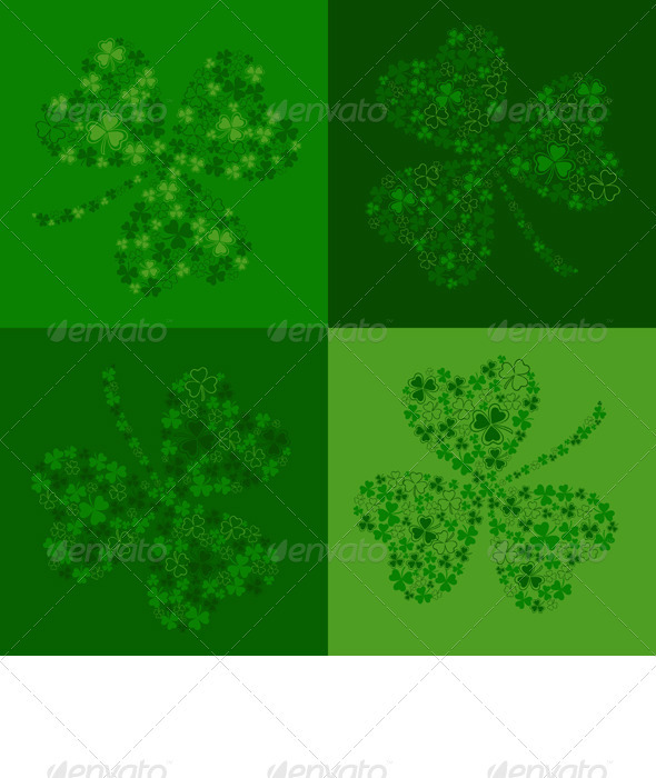 Vector Green Seamless Background with Clover - Backgrounds Decorative