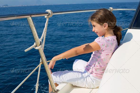 child happy girl sailing happy  boat - Stock Photo - Images
