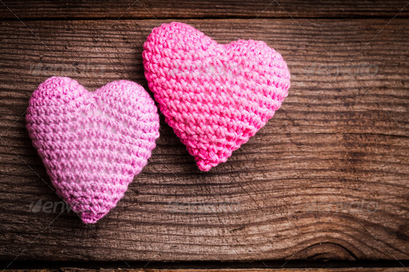 Crochet lovely hearts - Stock Photo - Images