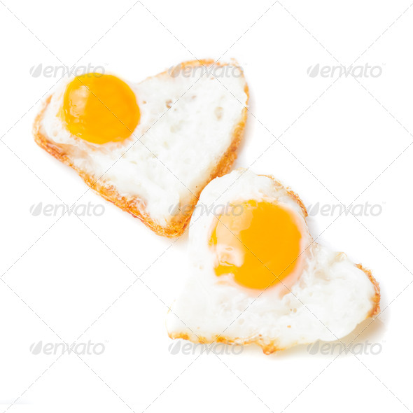 Heart fried eggs - Stock Photo - Images