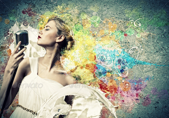 Female blonde singer - Stock Photo - Images