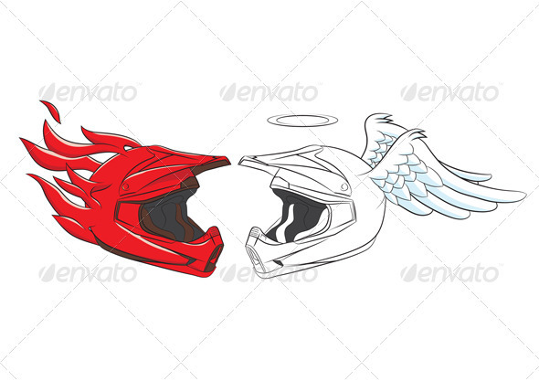 GraphicRiver Devil and Angel Helmet 3940277