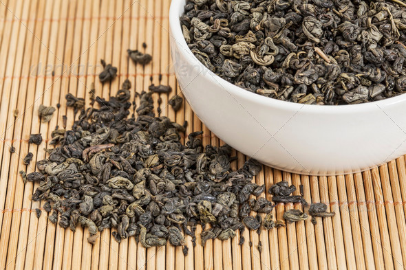 gunpowder green tea - Stock Photo - Images