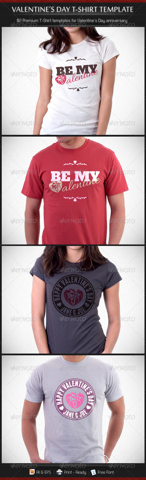 GraphicRiver Valentine's Day T-shirt Template 3942515