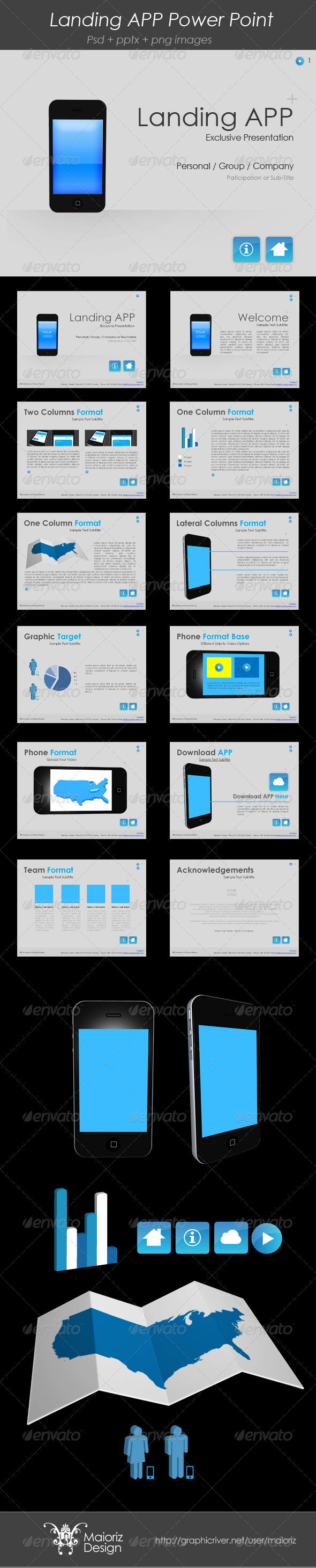 GraphicRiver Landing App PowerPoint Template 3869468
