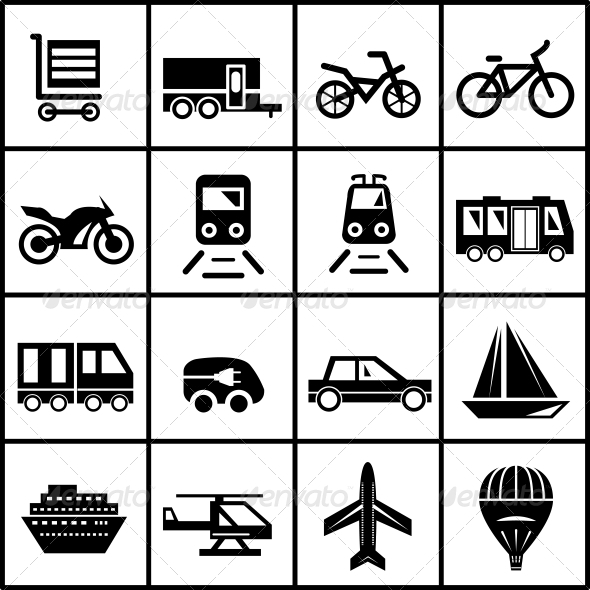 GraphicRiver Vector Transportation Icons Isolated on White 3944611