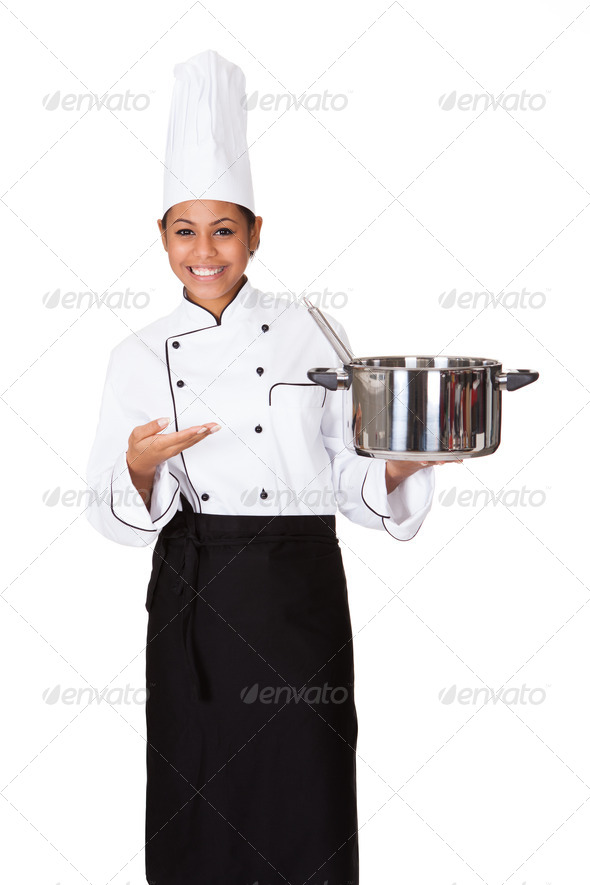 PhotoDune Female Chef With Cooking Pot In Hand 3944651